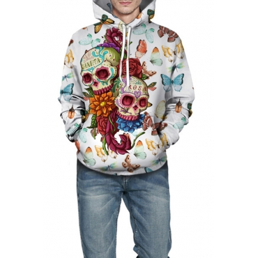 Lovely Casual Hooded Collar Printed White Hoodies
