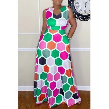Lovely Casual Sleeveless Printed Green Floor Length Dress