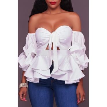 Lovely Chic Flounce Design White Blouse