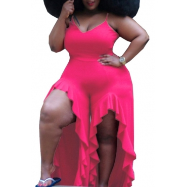 Lovely Sexy V Neck Asymmetrical Rose Red Plus Size One-piece Jumpsuit