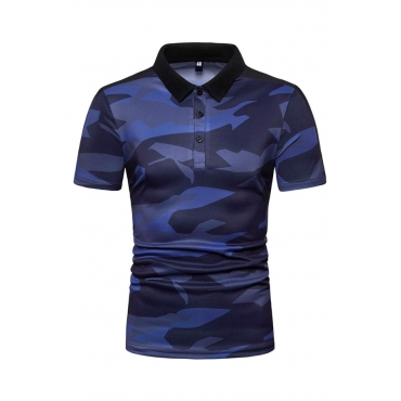 Lovely Casual Turndown Collar Camouflage Printed Blue Polo Shirt