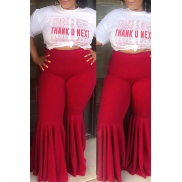 Lovely Casual Flounce Design Red Plus Size Pants