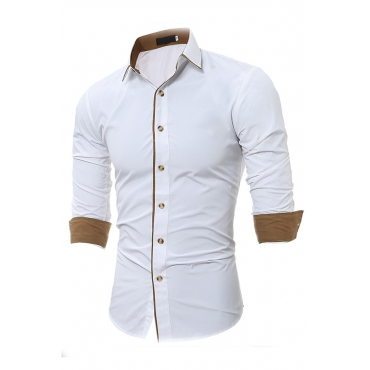 Lovely Casual Turndown Collar Buttons Design White Shirt