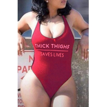 Lovely Trendy U Neck Letter Printed Wine Red Nylon One-piece Swimwear