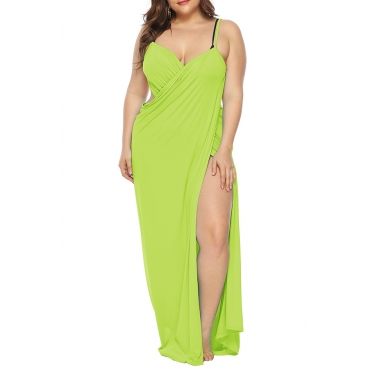 Lovely Casual Sleeveless Light Green Plus Size Cover-up