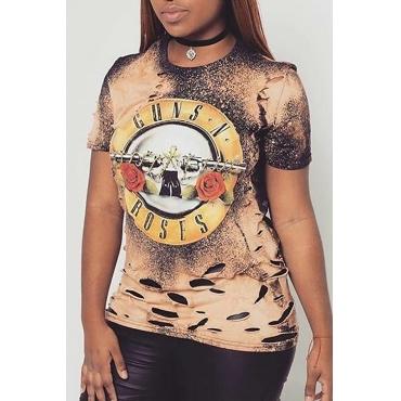 Lovely Casual Printed Khaki T-shirt