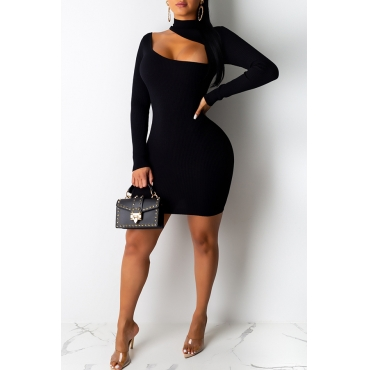 Lovely Stylish Hollow-out Black Mini Dress