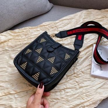Lovely Trendy Geometrtic Black PU Messenger Bag