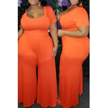 Lovely Casual Loose Orange Plus Size One-piece Jumpsuit
