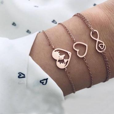 Lovely Trendy 3-Piece Gold Alloy Bracelet