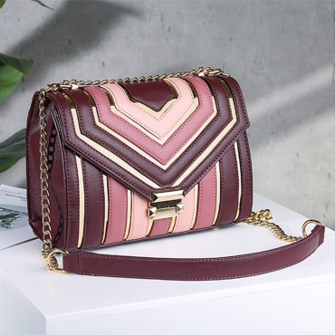 Lovely Trendy Geometric Patchwork Pink Crossbody Bag