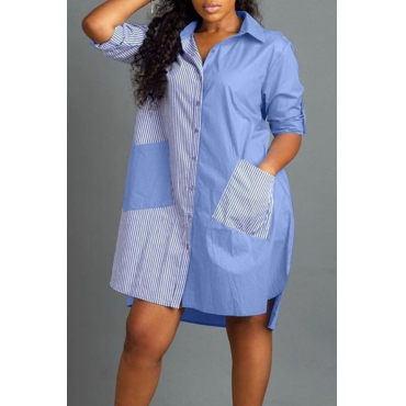 Lovely Casual Turndown Collar Patchwork Baby Blue Knee Length Dress