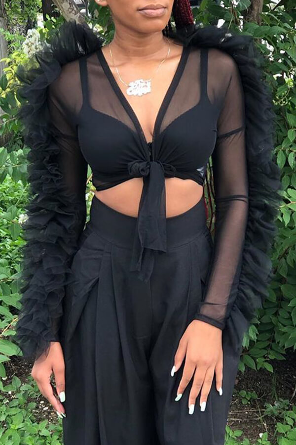 Lovely Sexy V Neck See-through Blouse