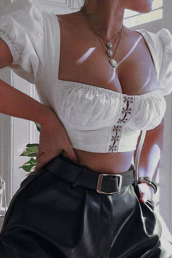 Lovely Sweet Crop Top White Blouse