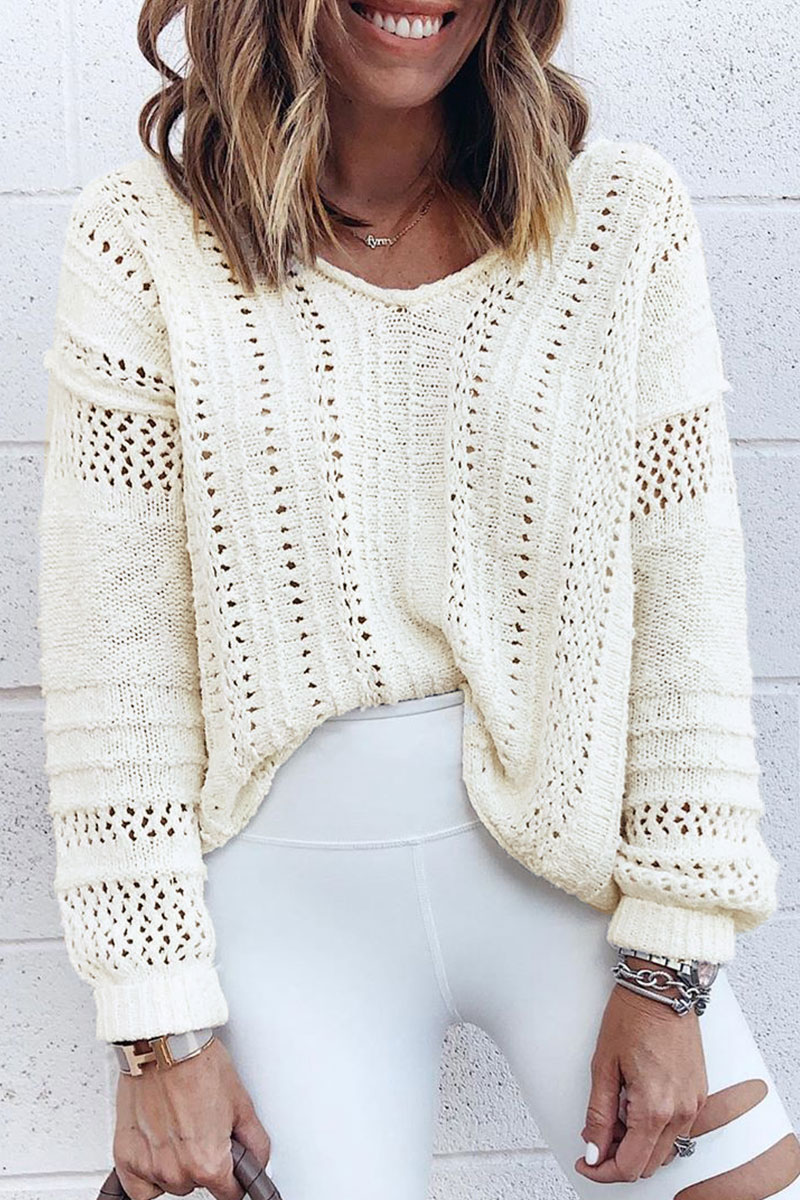 Lovely V Neck Hollow-out Beige Sweaters
