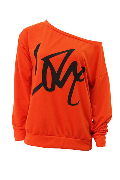 Lovely Leisure Round Neck Long Sleeves Letters Printing Orange Sweatshirt Hoodie