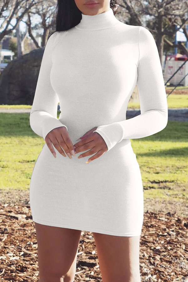 Daily Dress Lovely Casual Turtleneck Skinny White Mini Dress фото