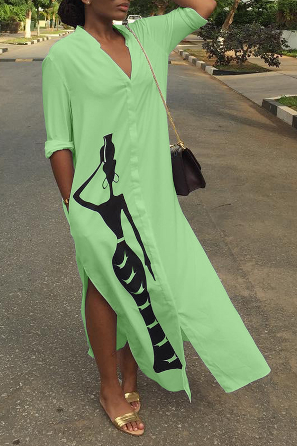 Lovely Casual Printed Slit Green Ankle Length Dress