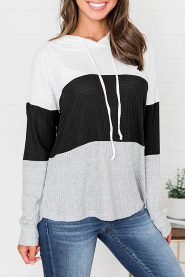 Lovely Trendy Hooded Collar Drawstring Black Sweaters