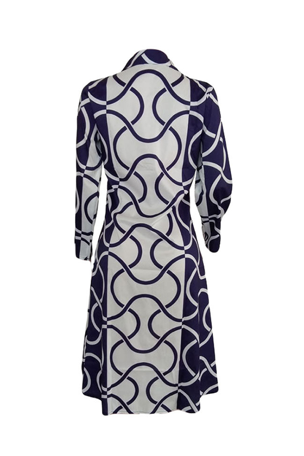 Lovely Casual Turndown Collar Printed Blue Mid Calf Dress
