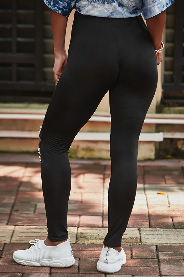 Lovely Casual Hollow-out Black Leggings
