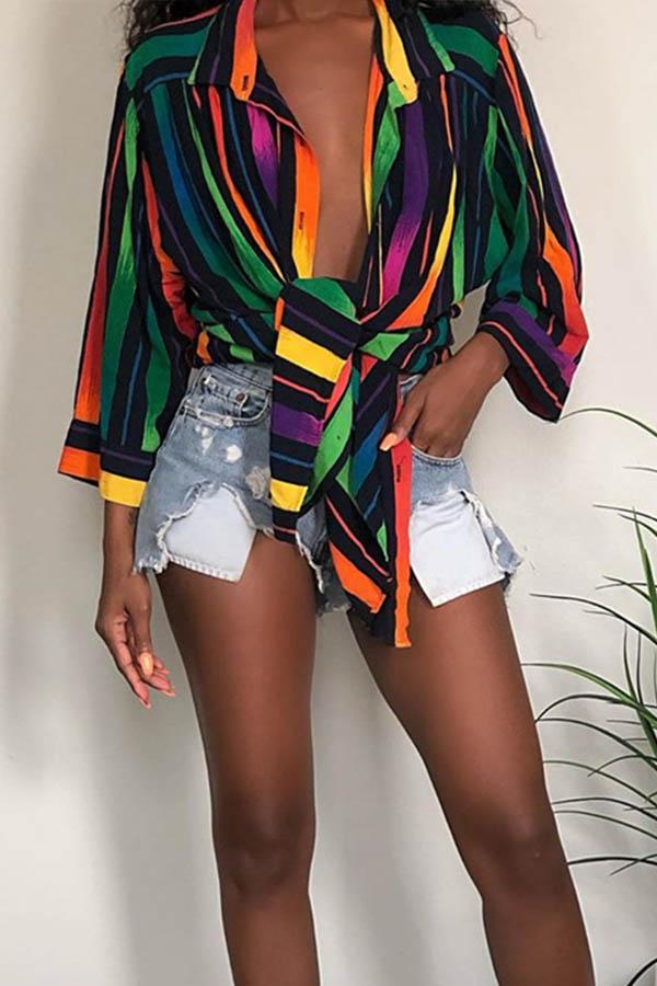 Lovely Casual Turndown Collar Asymmetrical Multicolor Mini Dress