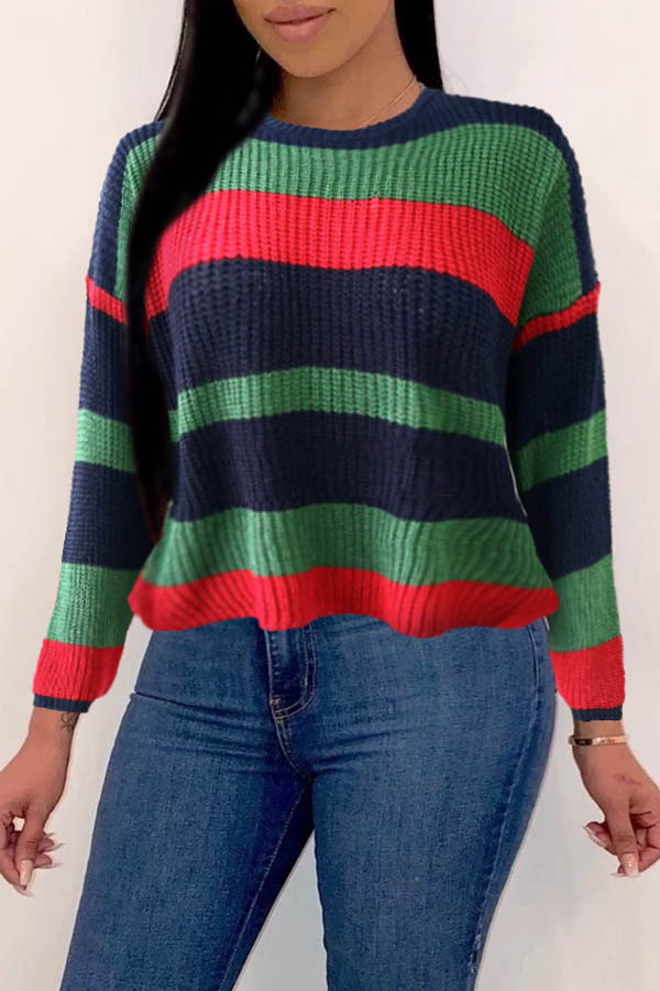 Lovely Leisure Color-lump Patchwork Green Sweaters