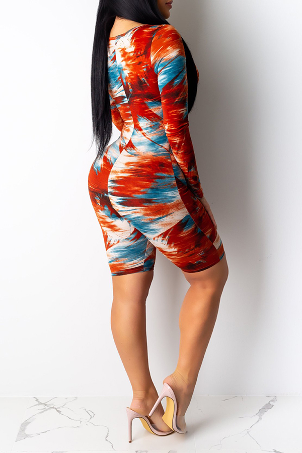 Lovely Casual Hollow-out Printed Red One-piece Romper