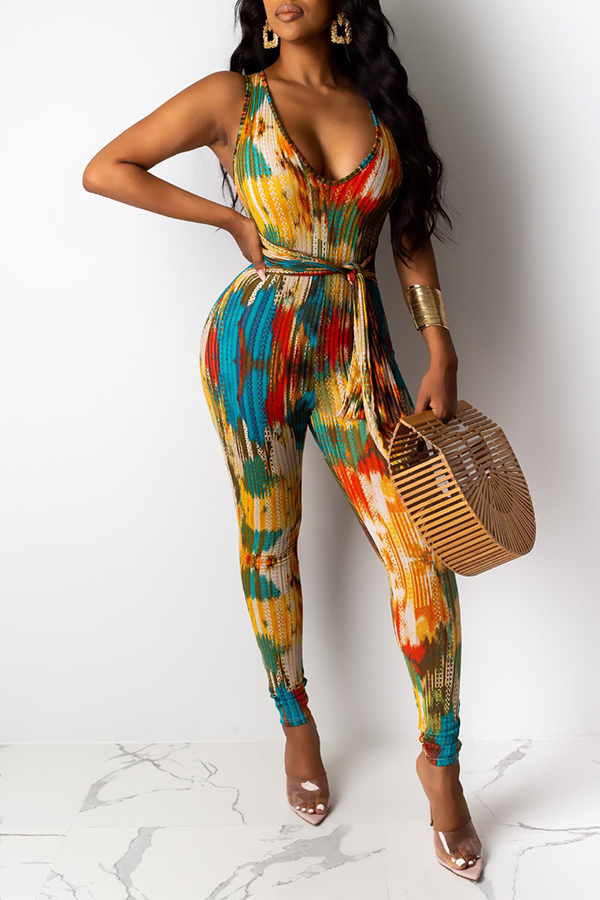 Lovely Bohemian Printed Multicolor One-piece Jumpsuit