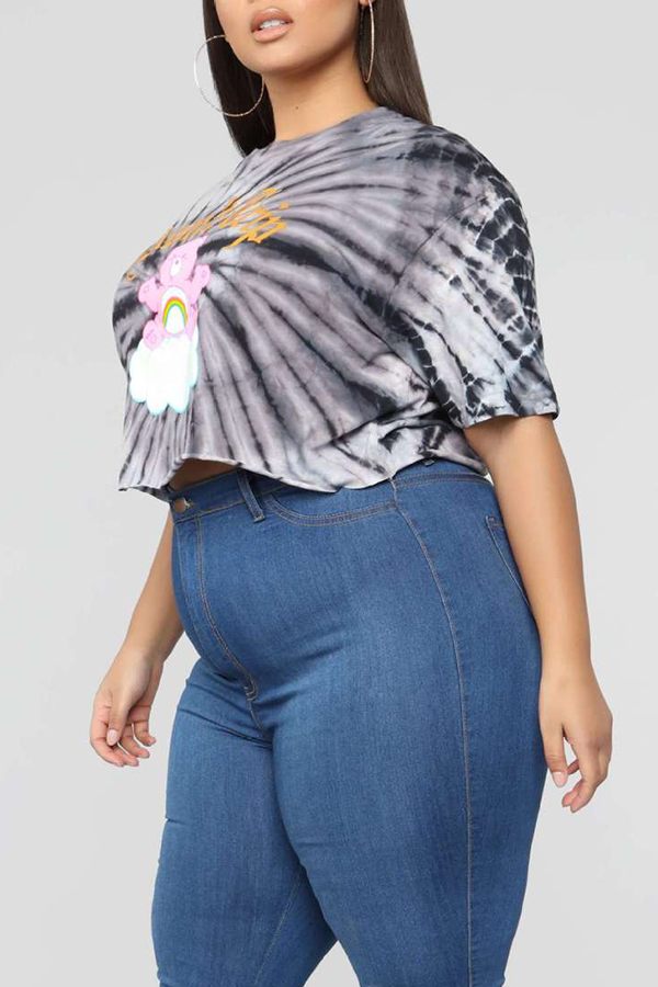 Lovely Casual Printed Grey Plus Size T-shirt