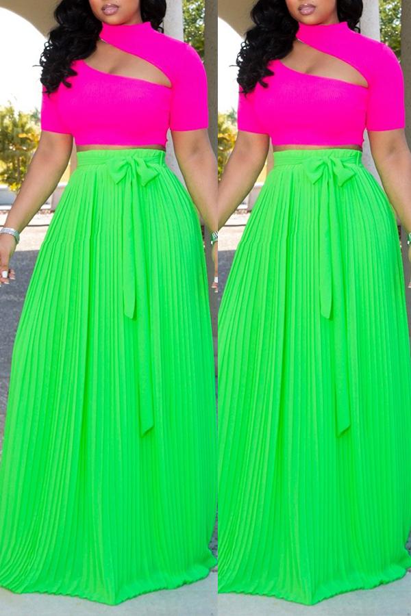 Lovely Casual Ruffle Design Light Green Skirt