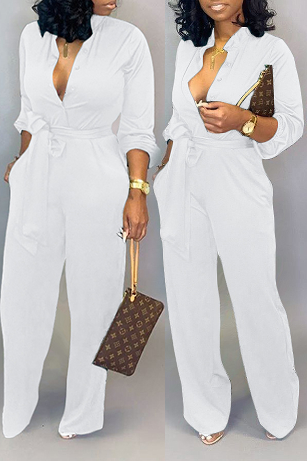 Lovely Work Lace-up Loose White One-piece Jumpsuit
