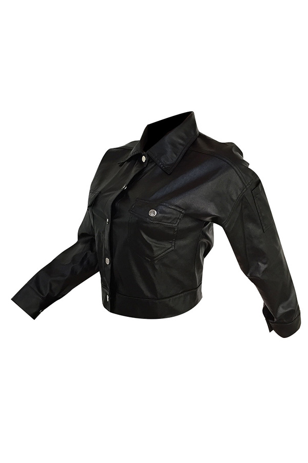 Lovely Trendy Turndown Collar Buttons Design Black Jacket