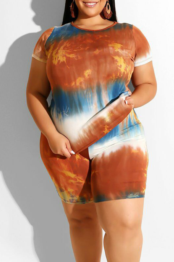 Lovely Casual O Neck Printed Orange Plus Size Two-piece Shorts Set