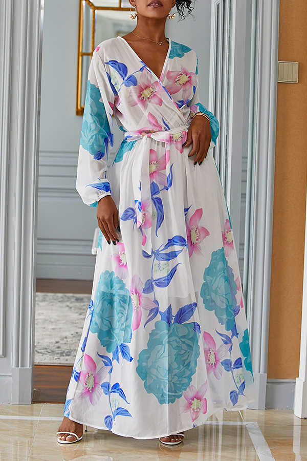 Lovely Bohemian V Neck Long Sleeves Floral Printed White Chiffon Floor Length Dress