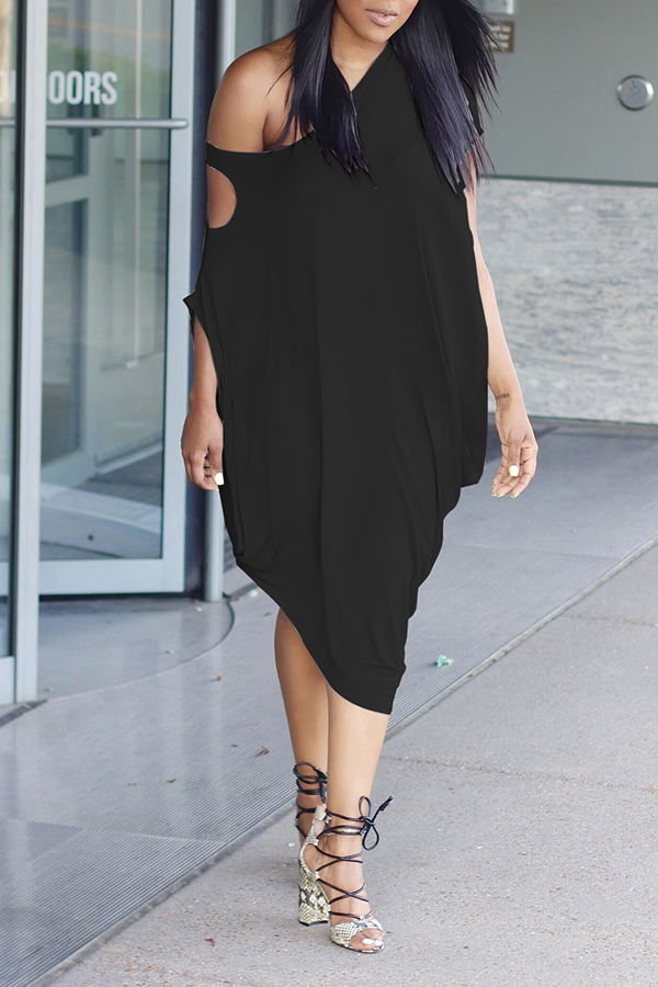 Lovely Casual One Shoulder Hollow-out Black Dress