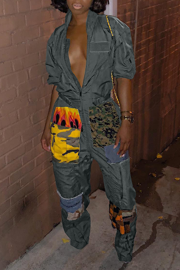 Lovely Casual Patchwork Army Green One-piece Jumpsuit
