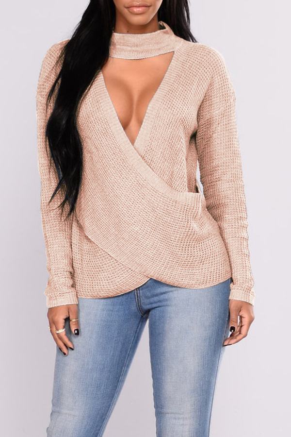 Lovely Leisure Cross-over Design Apricot Sweaters