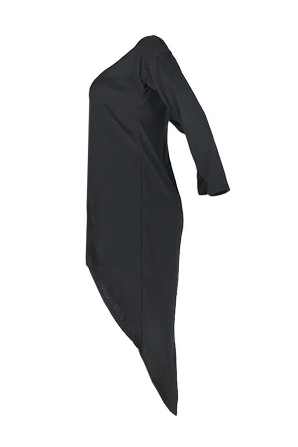 Lovely Casual Asymmetrical Black Blouse