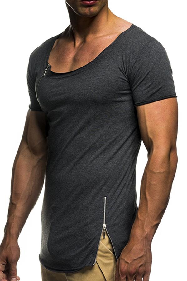 Lovely Casual Zipper Decorative Dark Grey T-shirt
