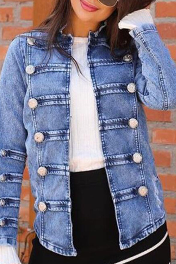 Lovely Casual Buttons Decorative Blue Denim Coat