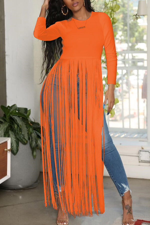 Lovely Casual O Neck Letter Printed Tassel Design Orange Blouse