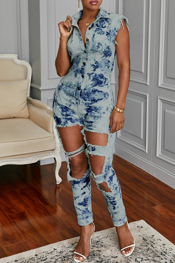 Lovely Trendy Hollow-out Baby Blue One-piece Jumpsuit
