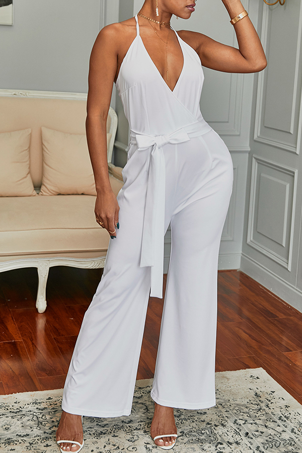 Lovely Elegant V Neck SleeveLess White Polyester One-piece Jumpsuit(With Belt)