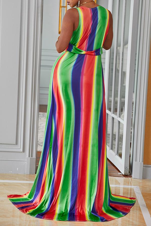 Lovely Sexy Deep V Neck Printed Side Split Multicolor Ankle Length Dress