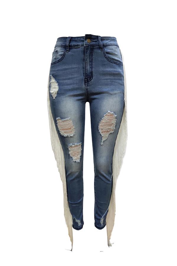 Lovely Trendy Tassel Design Blue Jeans