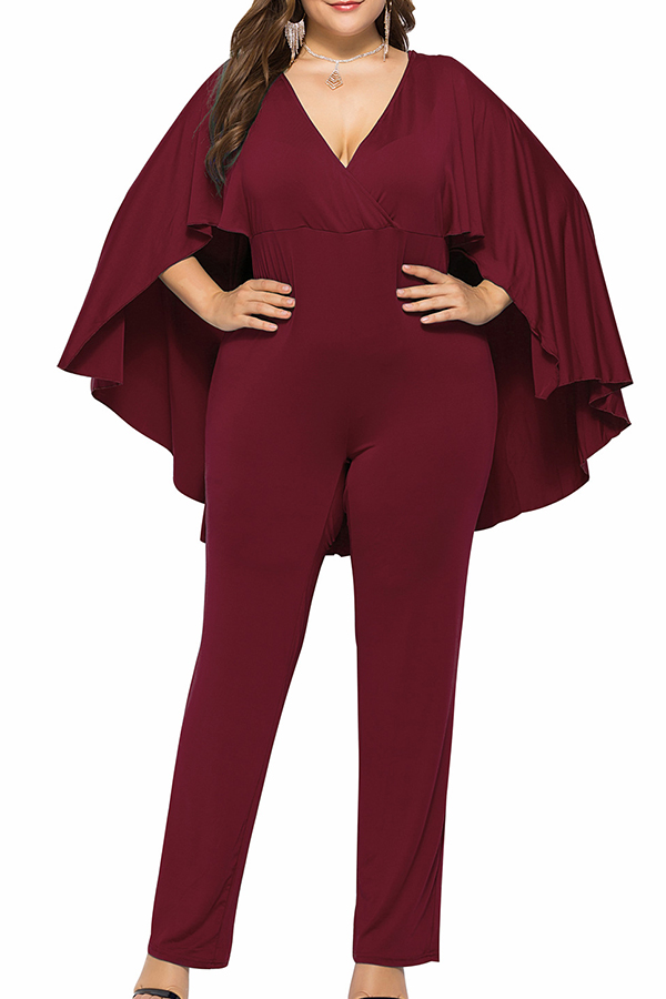 Lovely Casual Cloak Design Wine Red Plus Size One-piece Jumpsuit