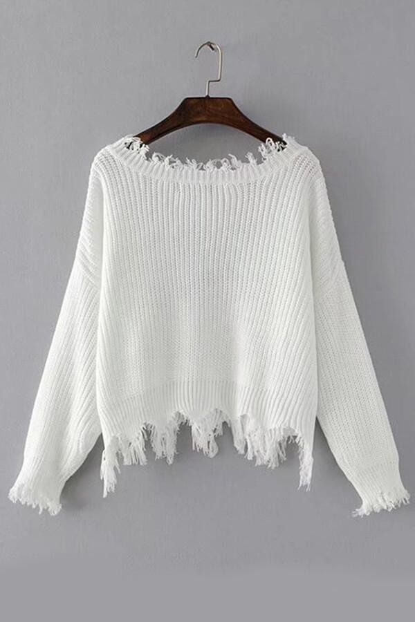 Lovely Trendy Asymmetrical White Sweaters