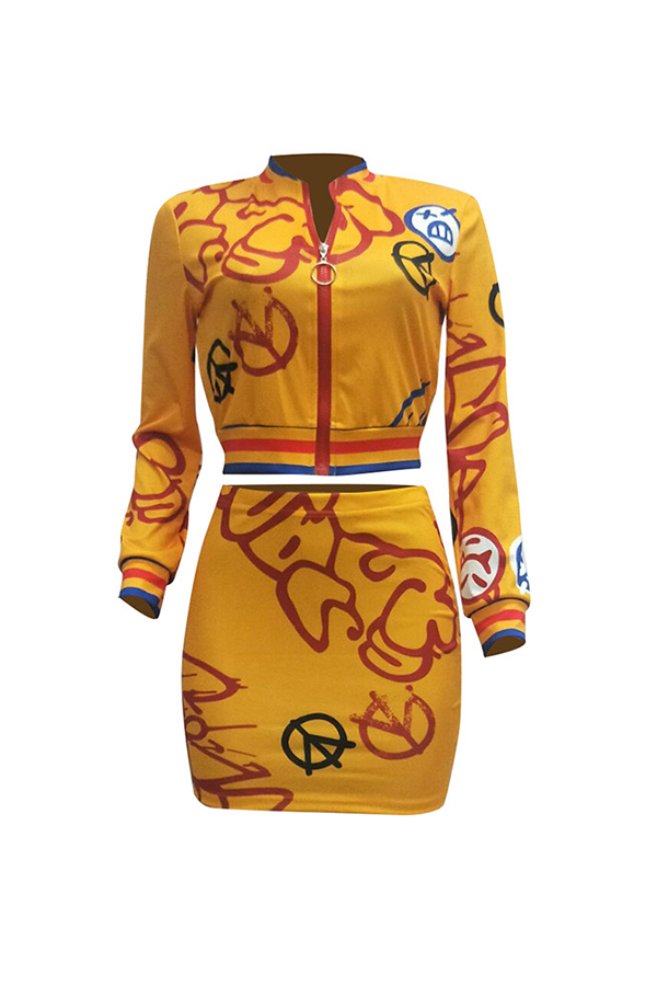 Lovely Street Mandarin Collar Printed Yellow Two-piece Skirt Set(Without Tube Top)