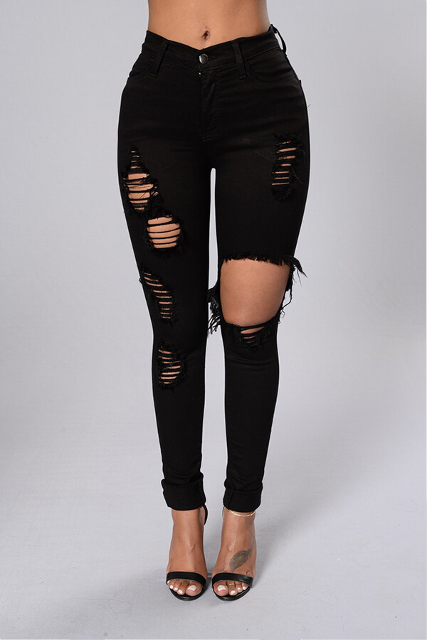 Lovely Leisure Hollow-out Black Jeans фото